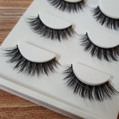 3 Pairs 100% Real 3D Mink Makeup Cross False Eyelashes Eye Lashes Handmade /bw 4