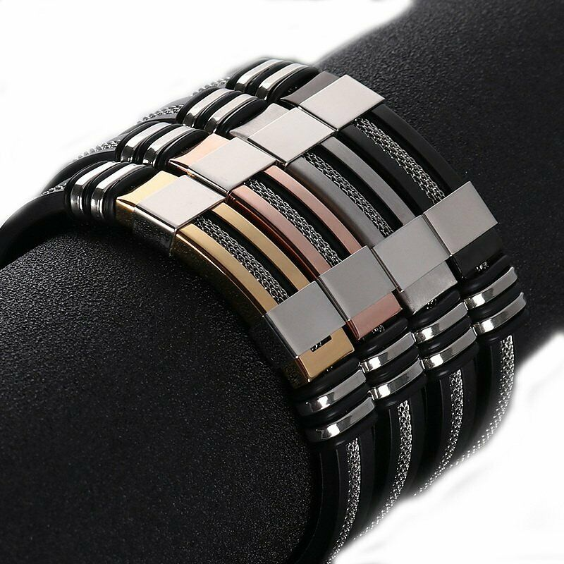 Punk Men's Leather Band Bracelet Watch Buckle Metal Magnetic Wristband Bangle 5