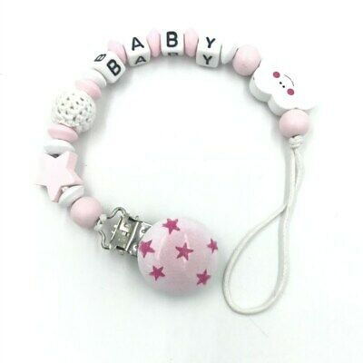 Personalised Name Wooden Baby dummy Clip Crochet beads Star pacifier clip 2