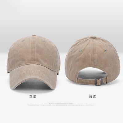 Men Plain Washed Cap Style Cotton Adjustable Baseball Cap Blank Solid Hat CHZ