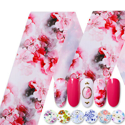 Holographic Flower Nail Foils Decal Nail Art Transfer Stickers Decoration Tips 10