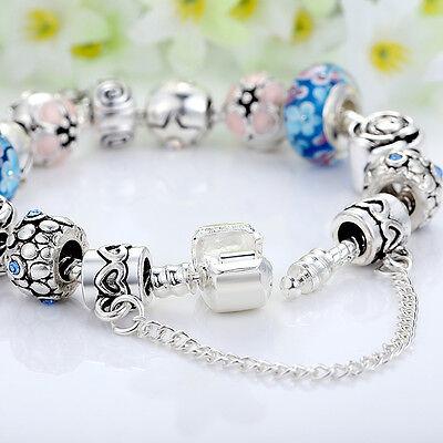 European 925 Silver Charms Bracelet DIY With Flower Bead Women Christmas Jewelry 5