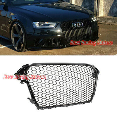 RS4 Style Front Mesh Grille for Audi A4 S4 B8.5 13-16 Gloss Black//Chrome