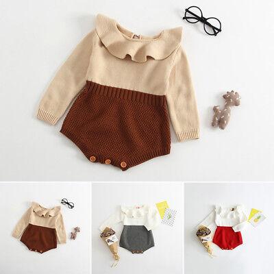 Infant Newborn Baby Boy Girl Knit Jumpsuit Romper Bodysuit Cotton Clothes Outfit