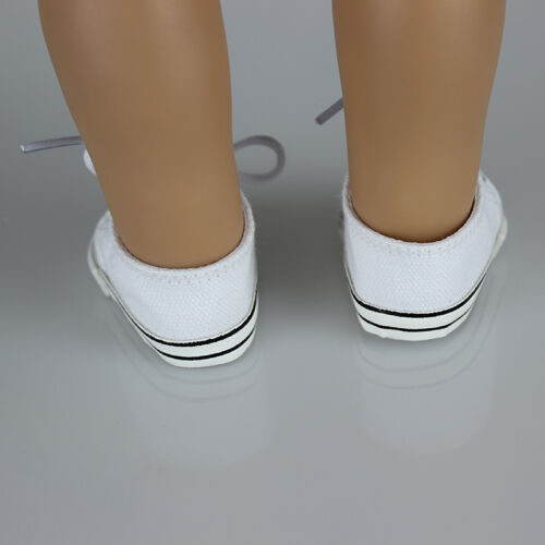Handmade Canvas White Shoes for 18inch Doll Cute Baby Kids Toys 5