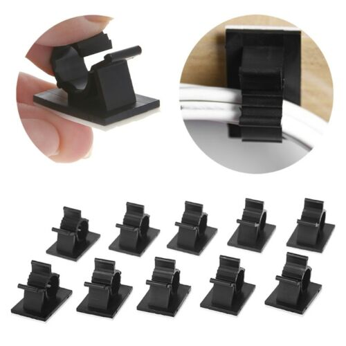 10x Cable Clips Adhesive Cord Management Organizer 7.9-10.3mm Wire Holder Clamp 3