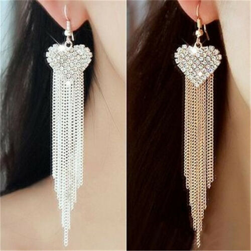 Chic Ladies Love Heart Shape Tassel Earrings Anniversary Party Jewellery one 2