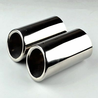 2× 68mm Stainless Steel Exhaust Pipe Rear Muffler Tip Tail VW Golf VI Scirocco