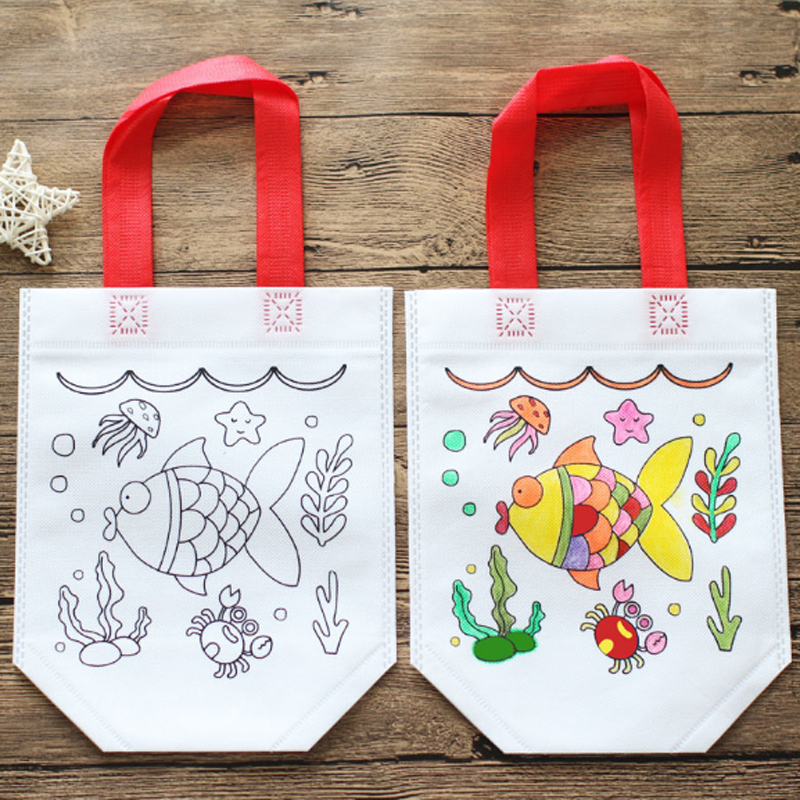 Children's DIY Environmental Protection Graffiti Bag Kindergarten Hand Painted 7