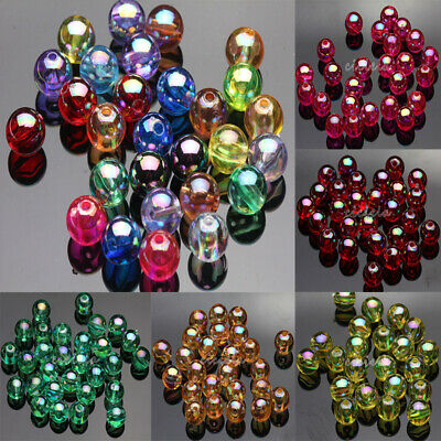 50/100Pcs Acrylic Round Plated AB Loose Spacer Beads Crafts Jewelry Findings DIY 11