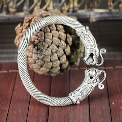 China old silver copper headed Double dragon Opera Ball Silver Bracelet 3
