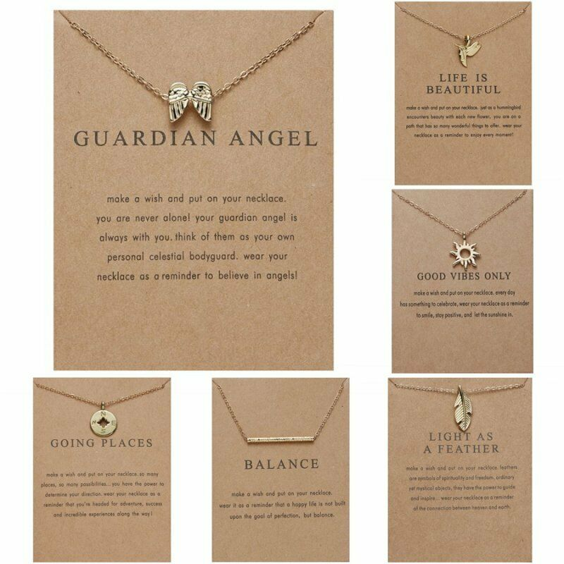 Fashion Women Animal Heart Necklace Charms Pendant Clavicle Chain Jewelry Card 2