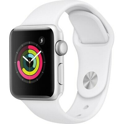 Apple Watch Series 3 GPS with White Sport Band 38mm Silver Model MTEY2LL/A 2