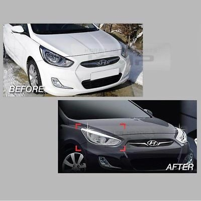 Accent Chrome Front Head Light Lamp Cover Molding for HYUNDAI 2011-2016 Verna