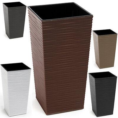 neu 2er set blumentopf modern struktur 30x30x57cm. Black Bedroom Furniture Sets. Home Design Ideas