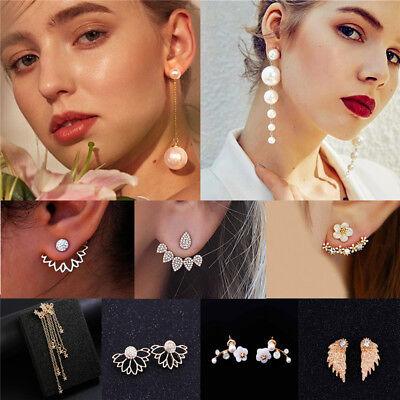 New Women Pearl Crystal Geometric Statement Drop Dangle Earrings Wedding Jewelry 9