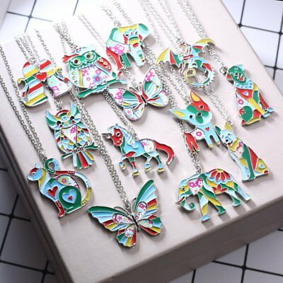 Fashion Paint Animal Dragon Butterfly Dog Cat Pendant Necklace Women Jewelry New 2