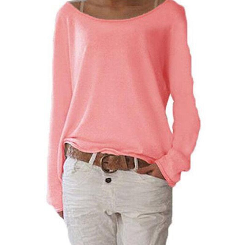 Women's Plain Long Sleeve T-Shirt Blouse Ladies Casual Loose Tops Shirts Tee UK 6
