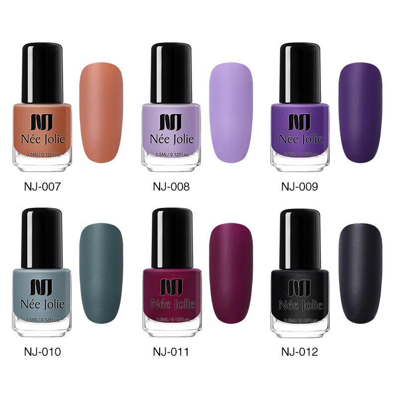 NEE JOLIE 3.5ml Matte Nail Polish Pure Tips Purple Green Black Nail Art Varnish 5