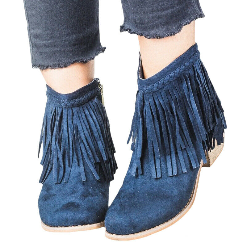 Women Ladies Short Ankle Boots Tassel Chunky Low Heel Casual Shoes UK Size 3.5-8 7