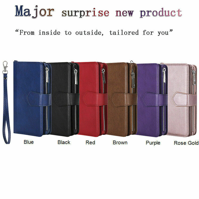 For iPhone XS Max XR X 7 8 6 6s Plus Removable Leather Zipper Wallet Case Purse 6
