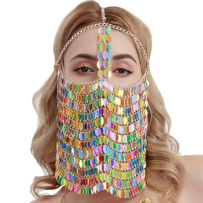 Fetish Colorful Leaves Belly Dance Face Mask BDSM Veil Mask Indian Head Chain 3
