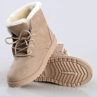 Winter Womens Snow Fur Lined Lace Up Warm Flat High Ankle Boots Round Toe Shoes 3