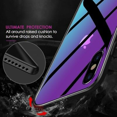 Case For iPhone Tempered GLASS BACK New Shockproof Hybrid Cover