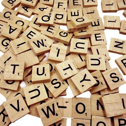 100 Wood Scrabble Tiles Letter Alphabet Scrabbles Number English Word Kids Learn