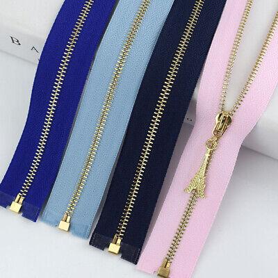 1Pc 20/40/50/60/70CM  Gold Teeth Metal Zips Sewing Zip Garment Accessories 9