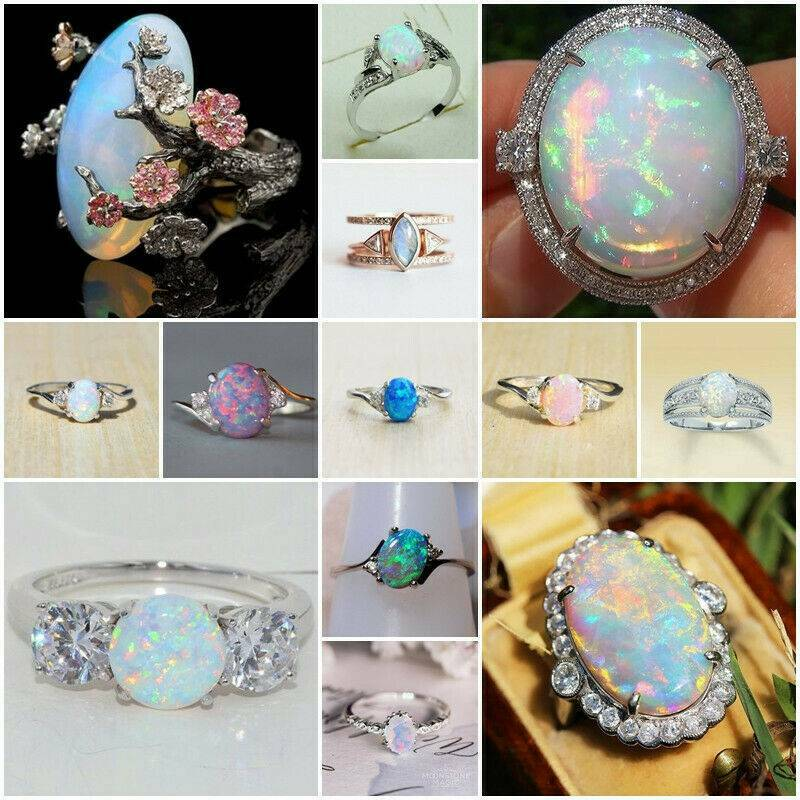 925 Sterling Silver Fire Opal Moonstone Rings Wedding Jewelry Sz#6-10 Rings Gift 2