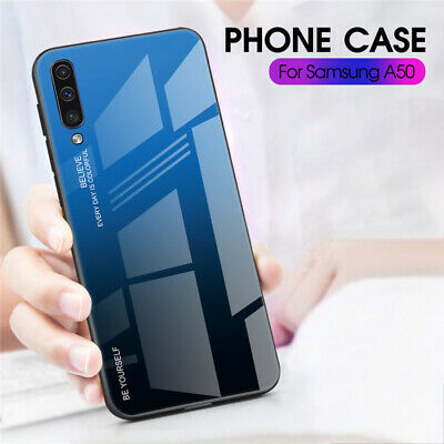 For Samsung Galaxy A50 A40 A20e A70 Gradient Tempered Glass Hard Back Case Cover 3