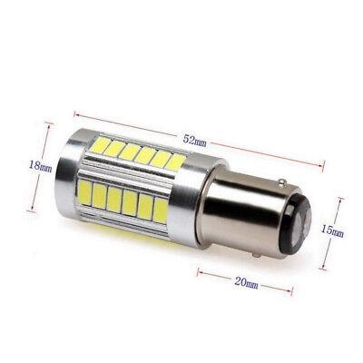 2PCS Bianco BA15D 33SMD LED 1157 Auto Coda Freno Stop Coda Lampadina Globo 12v 5