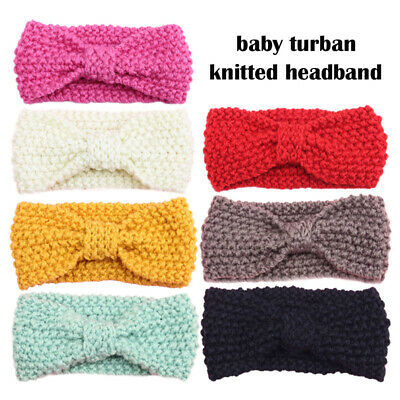 Knitted Baby Toddler Girls Kids Bow Knot Turban Headband HairBand Headwrap 0-3yr 7