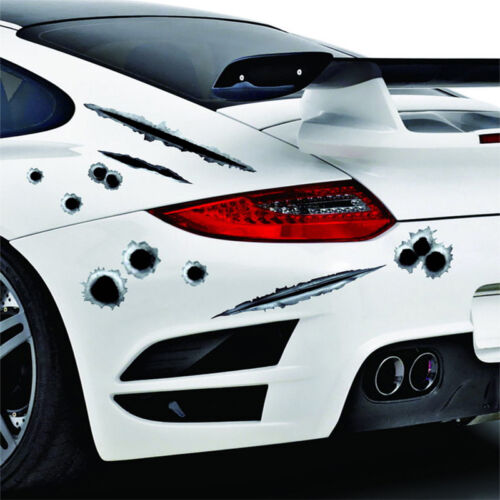 Fun Fashio 3D Bullet Hole Car Stickers Body Side Decal Graphics Sticker Decals