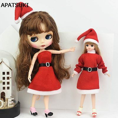 Handmade Merry Christmas Outfit For Blythe Doll Dress Hat Clothes For 1/6 doll 2