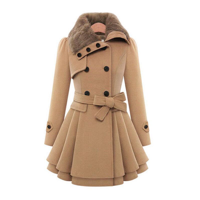 Womens Winter Office Pea Coat Trench Jacket Long Blazer Coats Outwear Plus Size 9
