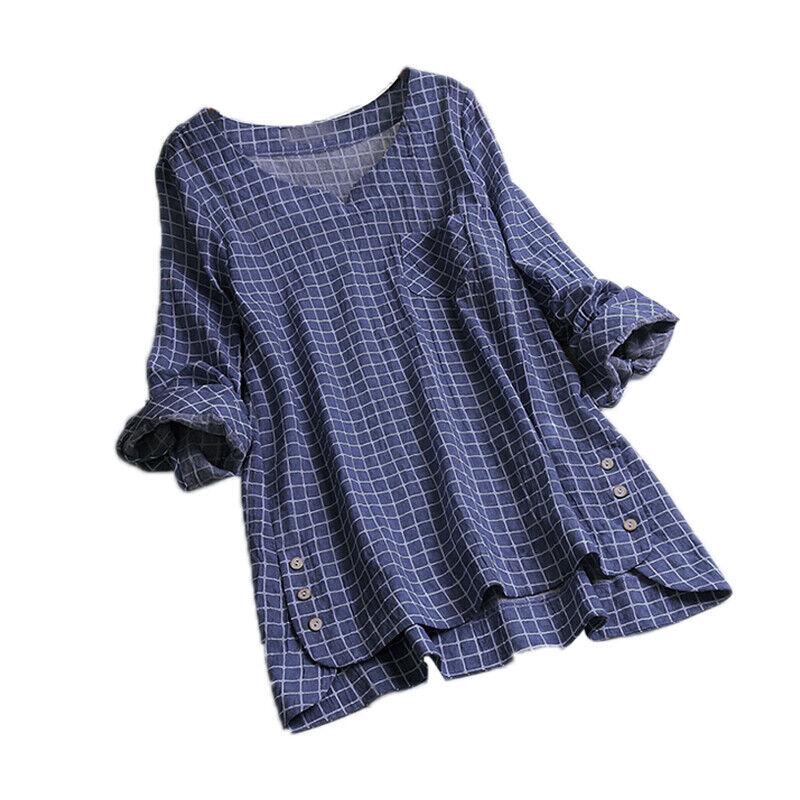 2c50c0c450443e Damen Übergröße T-Shirt Kariert Hemd Tunika Kaftan Hemdbluse Bluse  Oberteile Top 3 3 von 7 ...