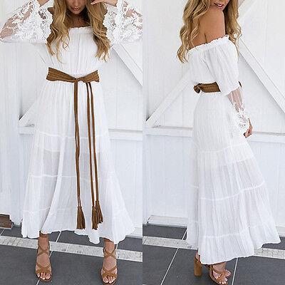 1 von 11Kostenloser Versand Sommer Weißes Sommerkleid Weiß spitze HIPPIE  Maxikleid kleid Kleider Größe S-XL 6dc97a3fd7