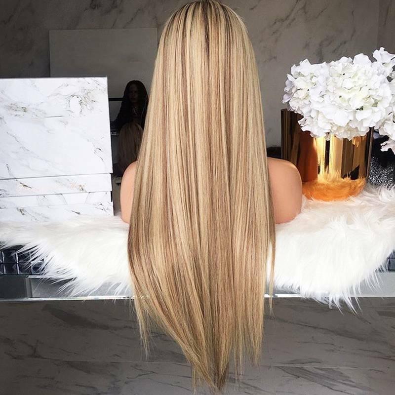 Damen Ombre Wig Blond Perücken Glatt Haare Perücke Volle