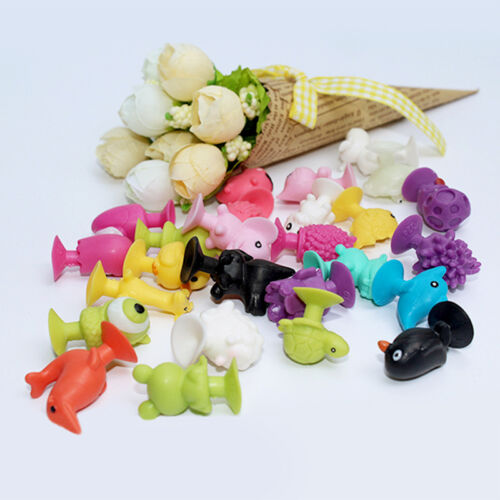 10pcs Mini Animal Action Figure Sucker Cup Cartoon Monster Child Kids Toys w 11