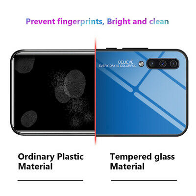 For Samsung Galaxy A50 A40 A20e A70 A80 Gradient Tempered Glass Back Case Cover 10