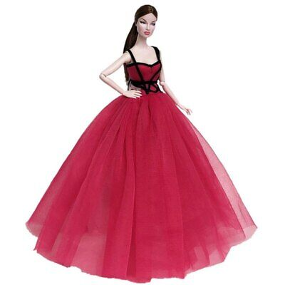 Red Black High Fashion Doll Clothes for 11.5in Doll Dress Evening Party Gown 2
