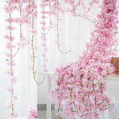 2m Artificial Cherry Blossoms Rattan Sakura For Wedding Arch Hanging Wreath Deco 2