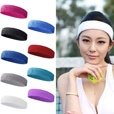 Women/Men Cotton Sweat Sweatband Headband Yoga Gym Stretch Head Band For Sport 2