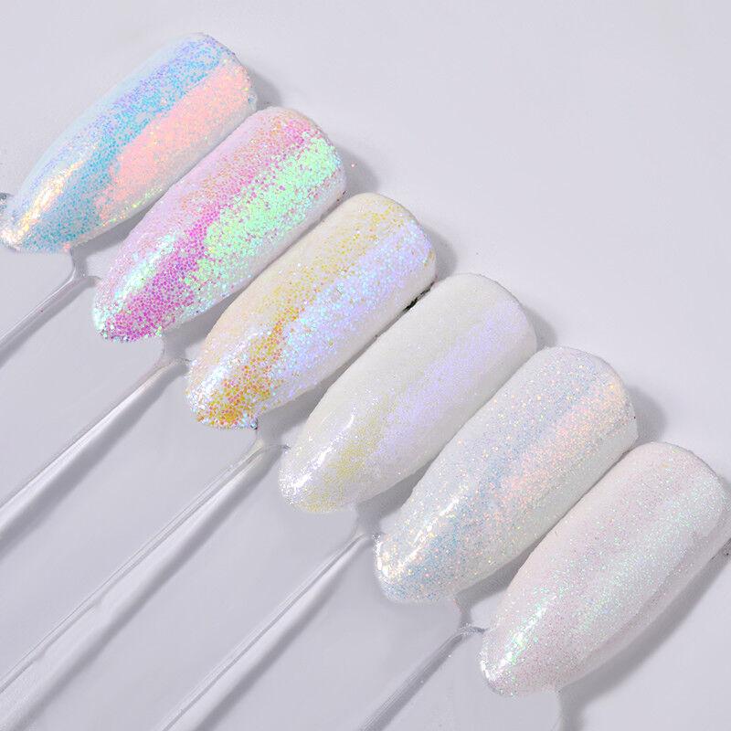6PCS PIGMENT NAIL Art Powder Dust Iridescent Trend Mirror Mermaid ...