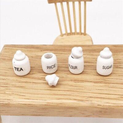 4 Dollhouse Miniature Wood Kitchen Food Sugar Flour Tea Rice Jars Pot 1/12 Decor 8