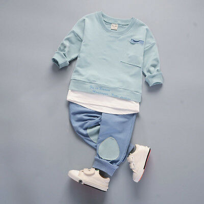 Kids toddler Baby boys girls outfits cotton tops+pants boys casual tracksuit 3