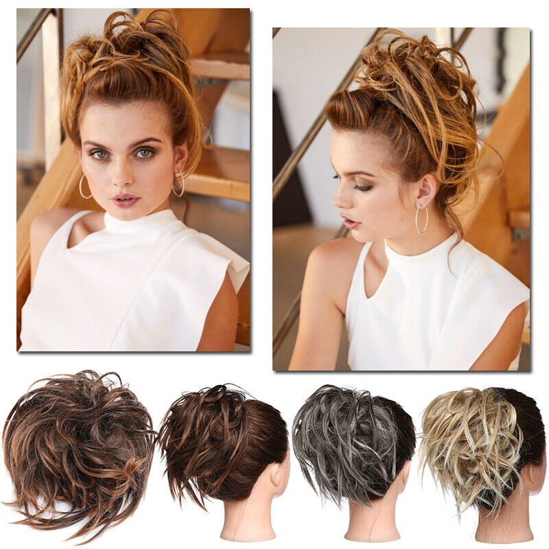 Large Thick Messy Bun Hair Scrunchie Updo Cover Curly Hair Extensions as Human 5