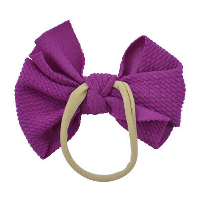 Nylon Baby Toddler Girls Big Bow Knot Headband Hairband Stretch Turban Head Wrap 6